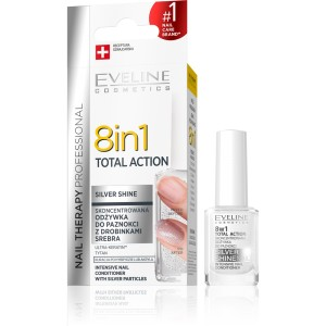 Eveline Nail Therapy Professional odżywka do paznokci 8w1 Total Action Silver Shine 12ml